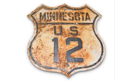 Minnesota U.S. Route 12 Shield Tin Sign - $ 400-$ 700