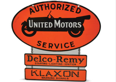 United Motors Authorized Service with Delco Remy and Klaxon Bottom Panels Porcelain Sign - $ 5 000-$ 8 000