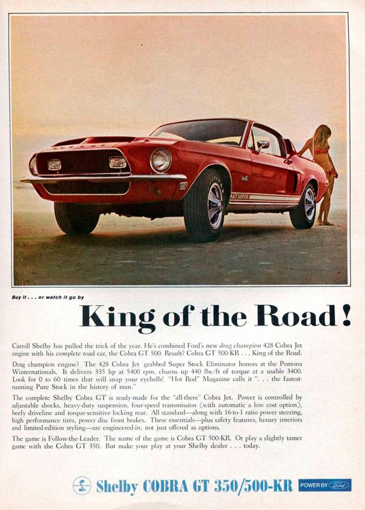 1968 Shelby son style est différent d'une Mustang standard et son V8 est issu de la Cobra Jet Big Block 7 Litres.