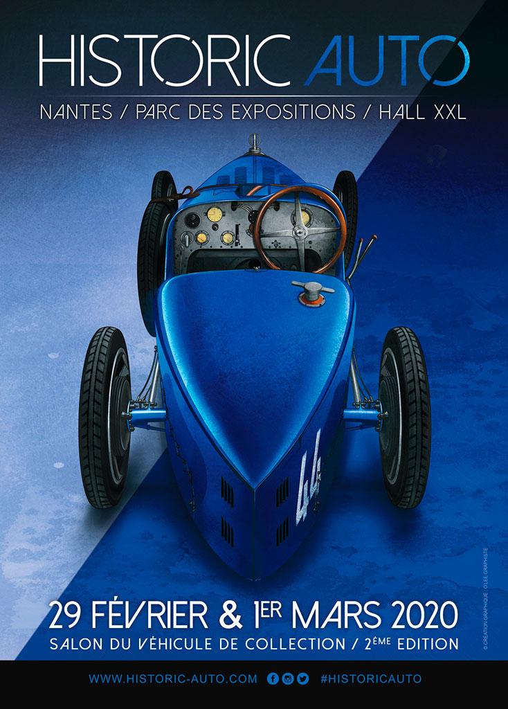 Affiche 2020 tournée vers le bleu en hommage à Molsheim et au sport auto français.