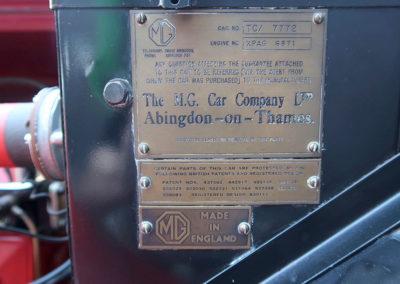 1947 MG TC Roadster plaque constructeur estimation AUD 30,000-40,000.