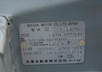 1991 Nissan Figaro plaque d'identification du constructeur.