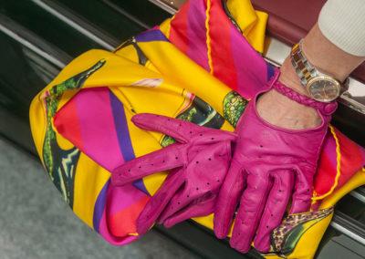 Gants de conduite Tresse pour femme, cuir Agneau couleur Fuxia.