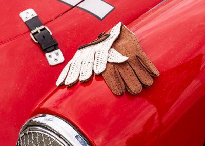 Gants de conduite Éléphant Crochet pour homme, cuir Agneau et Crochet couleur Tabac.