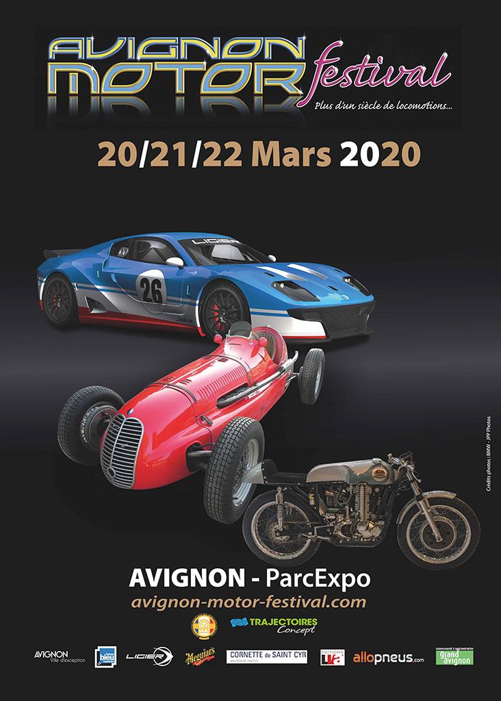 Affiche 2020 du salon de la Locomotion Avignon Motor Festival.