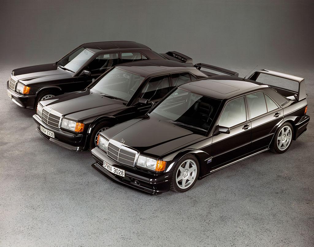 1990, les trois soeurs, au premier plan 2.5-16 EVO II, au second plan 2.5-16 EVO et au dernier plan 2.3-16.