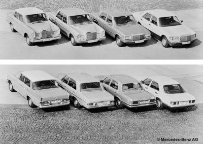 Mercedes-Benz 300 SEL 6.3 W109 en compagnie la W112, à gauche et les W116 et W126 - vues avant et arrière.