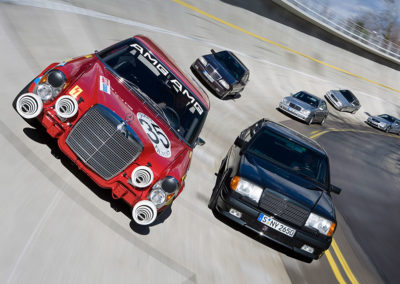 AMG Rote Sau AMG 300 SEL 6.8 (W 109). Authentic replica of the 1971 racing tourer, together with other high-performance vehicles from Mercedes-AMG history.
