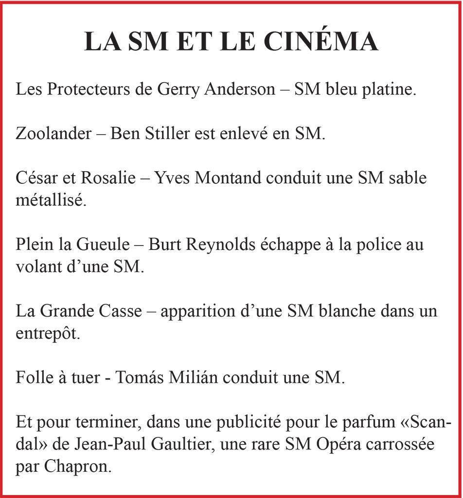 Citroën SM, ses rencontres avec le cinéma.