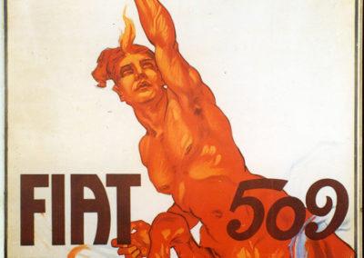 1925 l'affiche publicitaire pour la Fiat 509 fabriquée à l'usine de Lingotto.