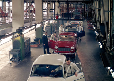 1963 Fiat 1100D sortie de la chaîne de montage de Lingotto.