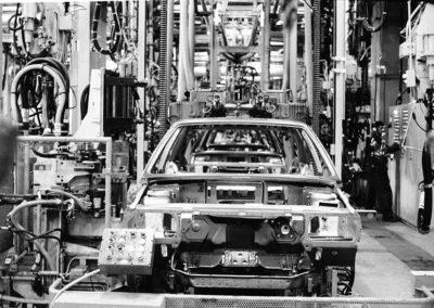 1982 Lingotto, la chaîne de montage des Lancia Delta, la dernière sortie de Lingotto.