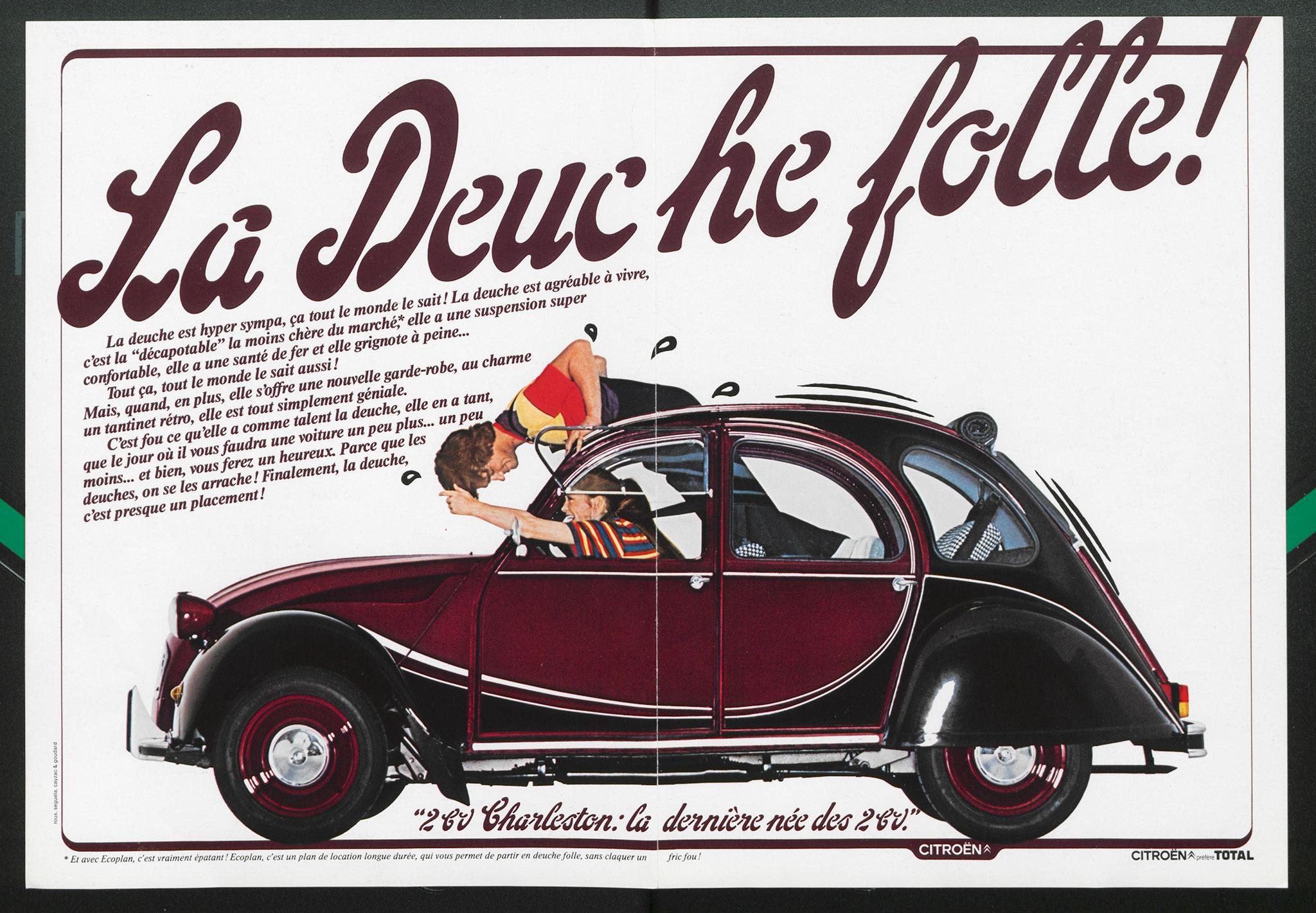 Citroën 2CV Charleston bordeaux et noir extrait brochure commerciale.