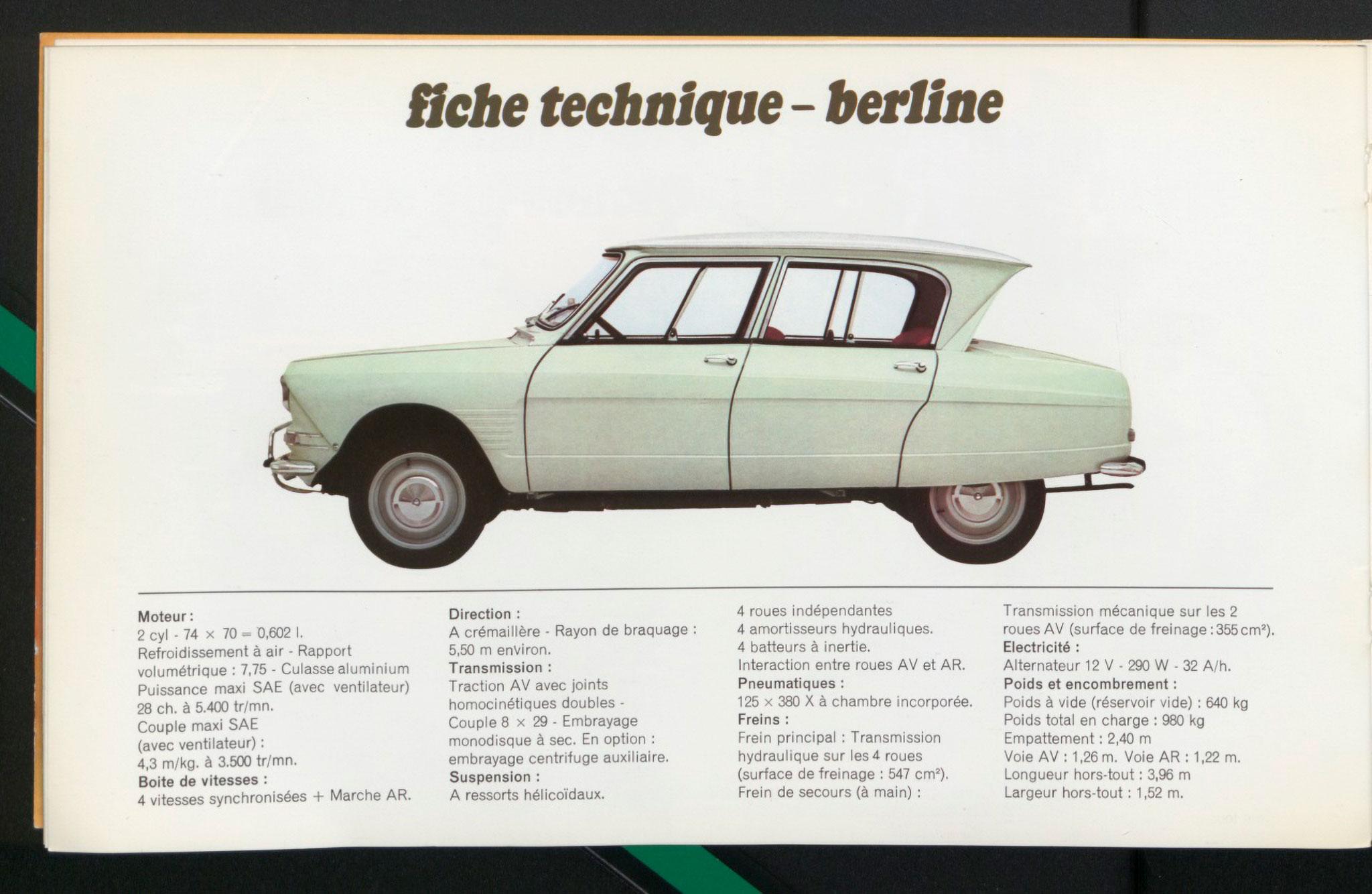 1961 Citroën AMI 6 Berline fiche technique.