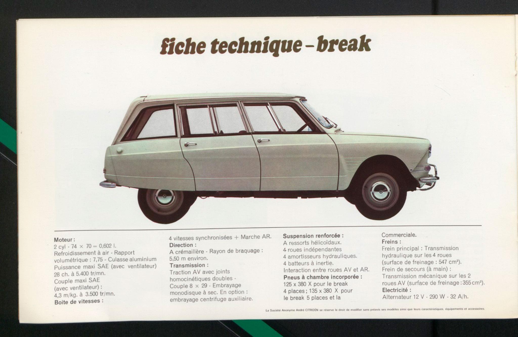 1961 Citroën AMI 6 Break fiche technique.