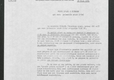 1961 Citroën AMI 6 communiqué de presse 23 mars 1961.
