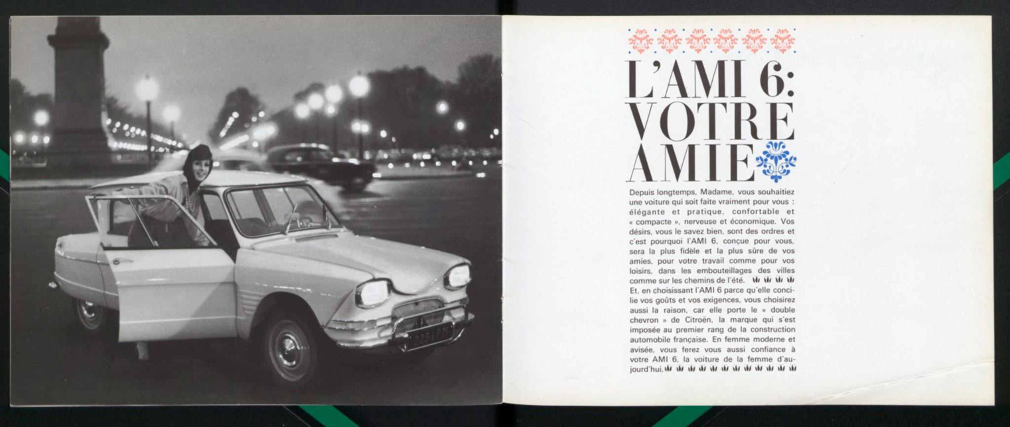 1961 Citroën AMI 6Berline brochure commerciale AMI 6 votre amie.