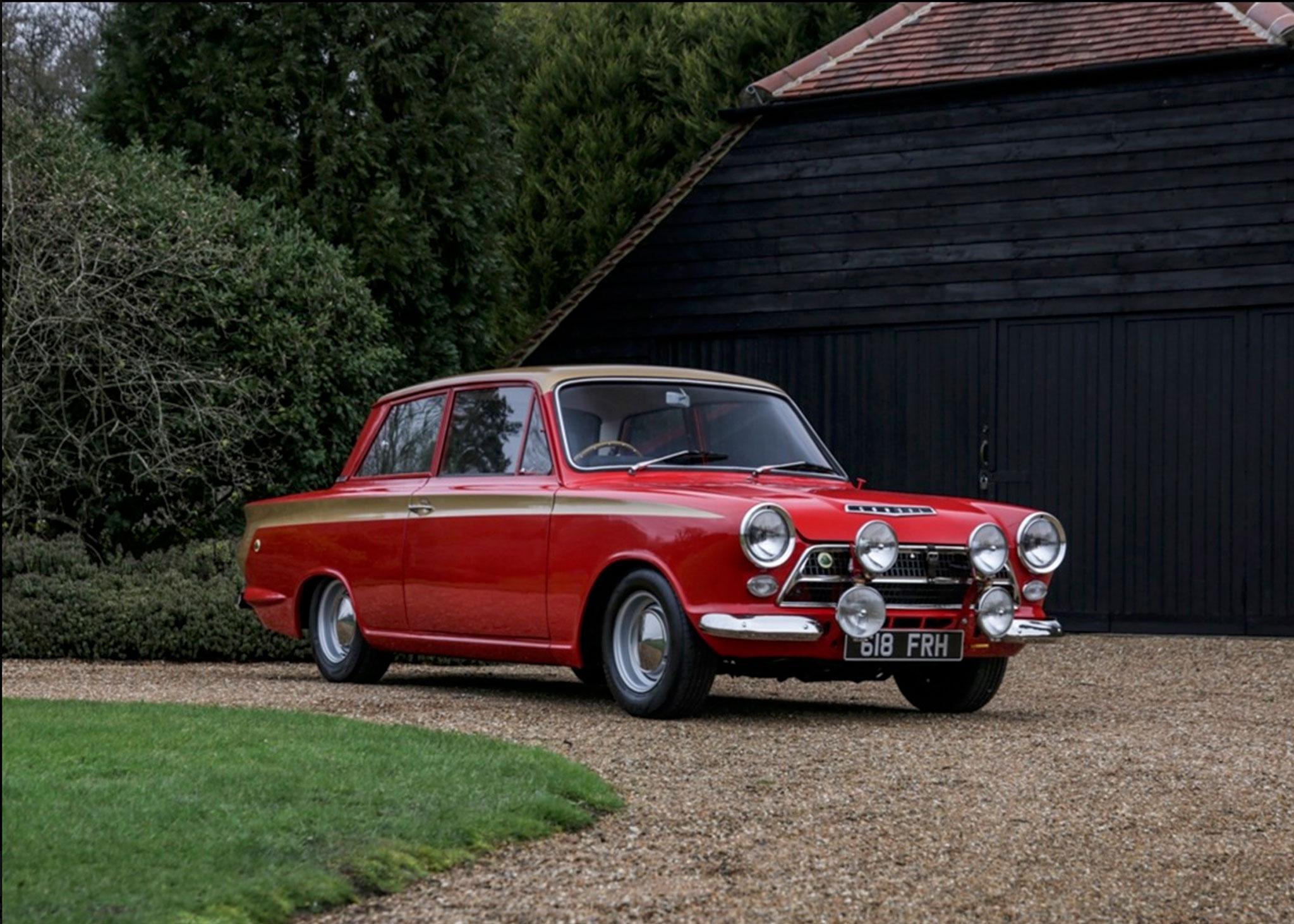 1963 Ford cortina Lotus MK I aux couleurs du pilote Alan Mann - Coups de Coeur Historics Auctioneers.