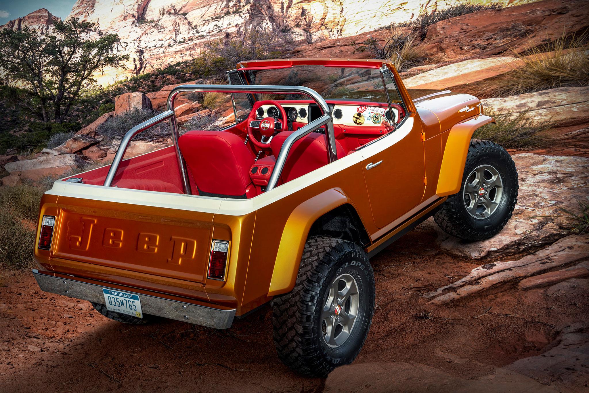 2021 Jeepster Beach Resto Mod Concept trois quarts arrière droit - Concept Cars de Jeep®.