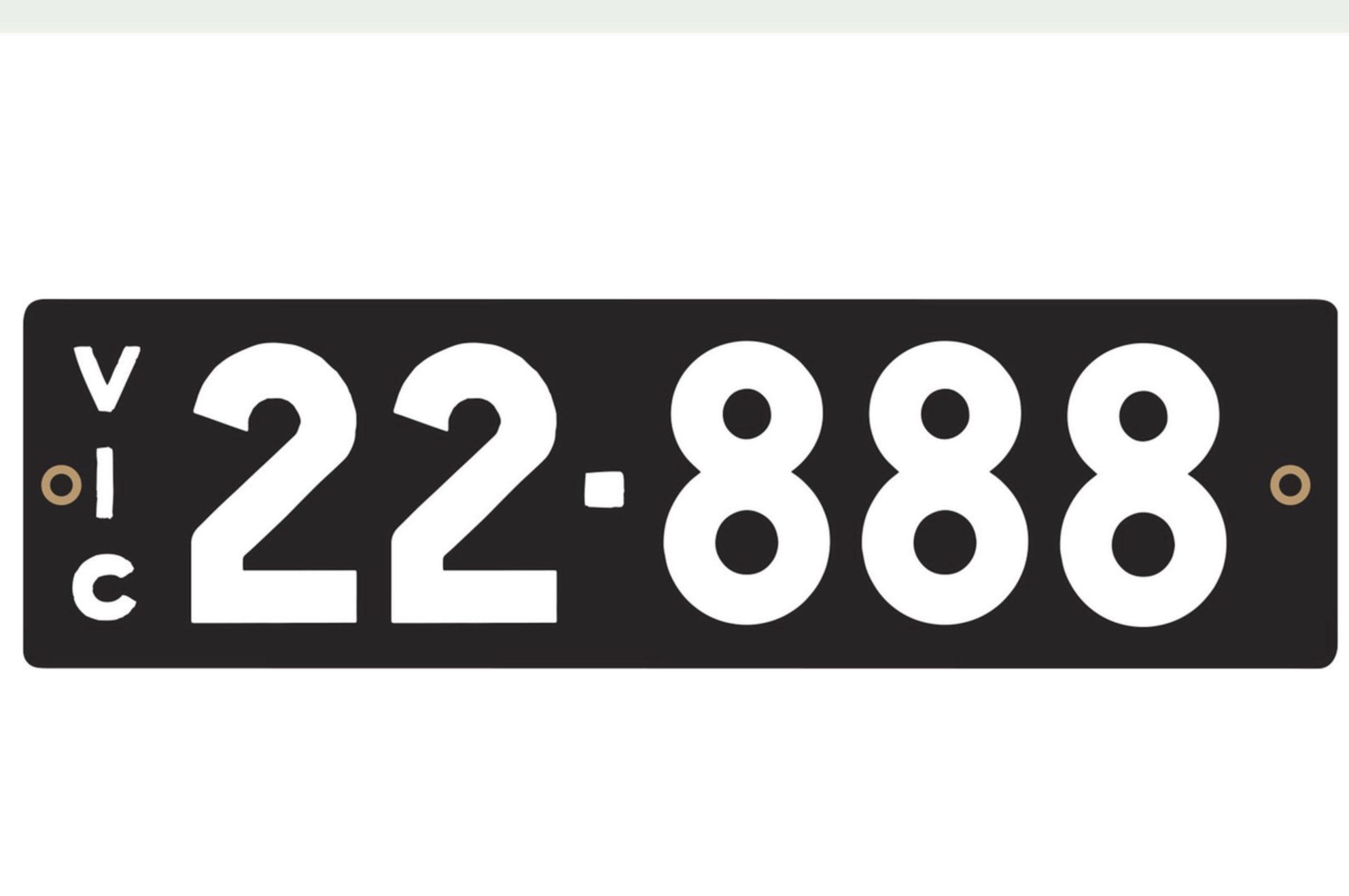 Plaque 22-888 combinaison de chiffres rares - VIC et NSW avril 2021.
