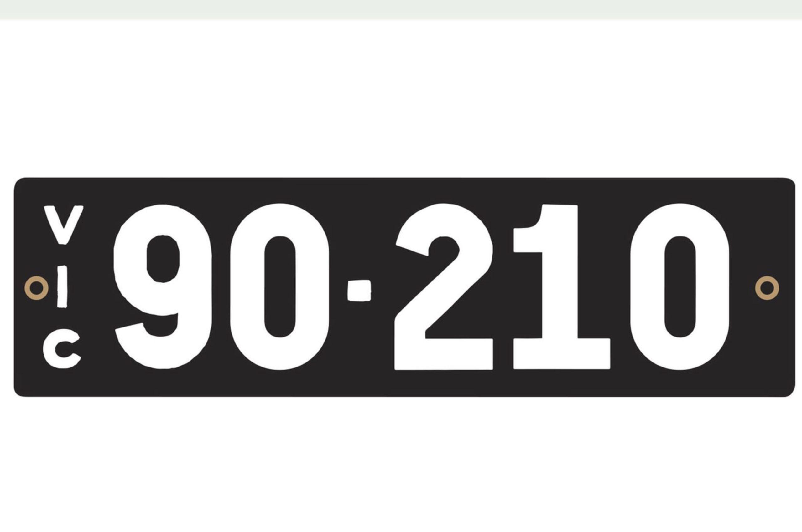 Plaque 90-210 fait référence à la série télévisée Beverly Hills 90210 - VIC et NSW avril 2021.