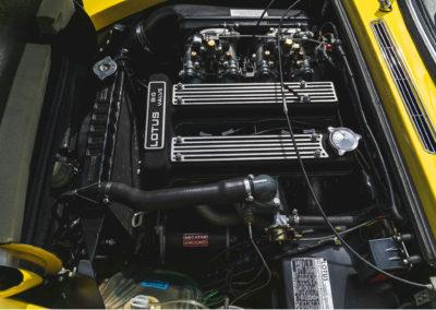 1972 Lotus Elan Sprint Convertible vue du moteur grosses soupapes de 126 chevaux de la version Sprint.