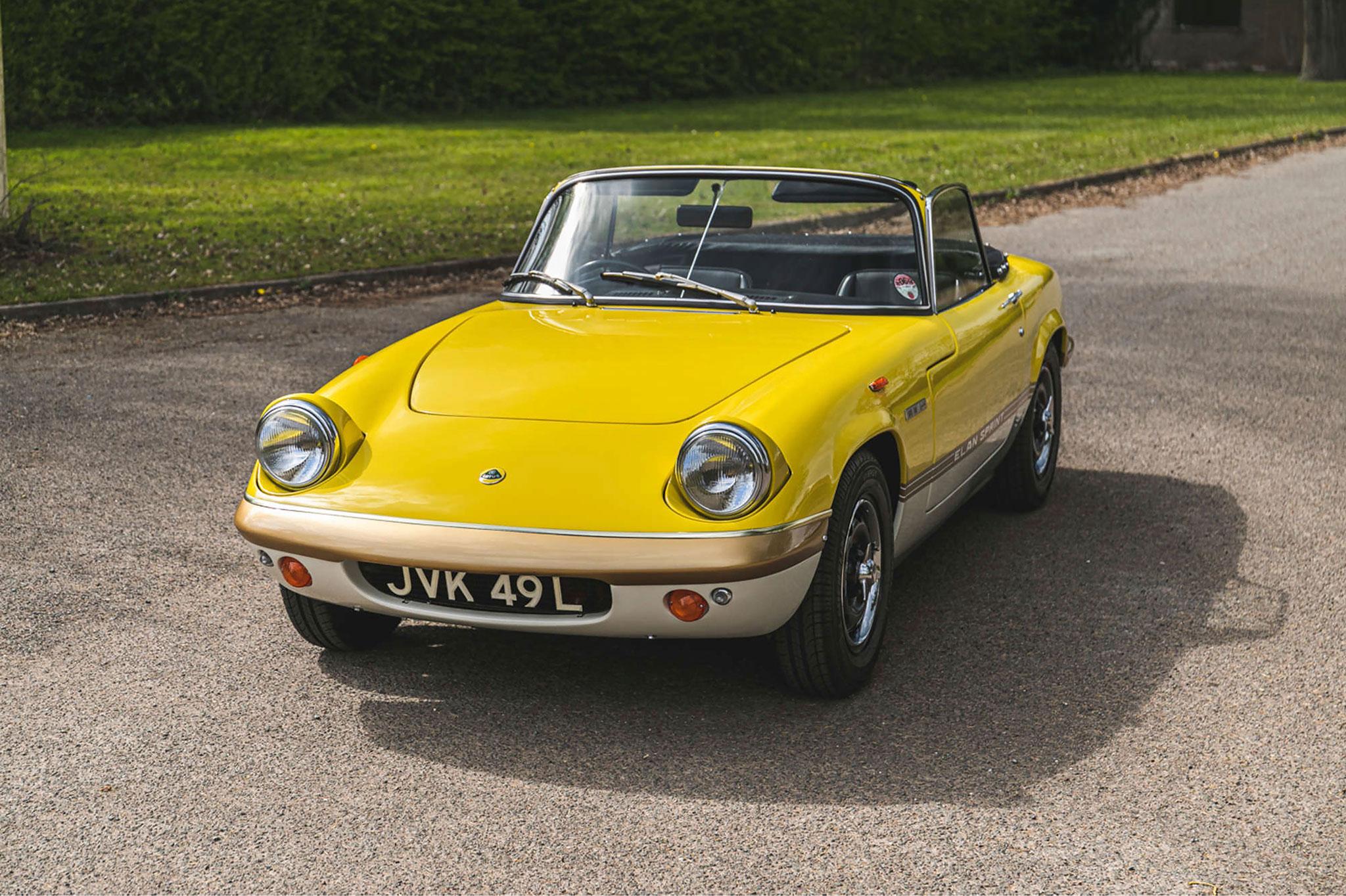 1972 Lotus Elan Sprint Convertible une sportive recherchée par les collectionneurs britanniques.